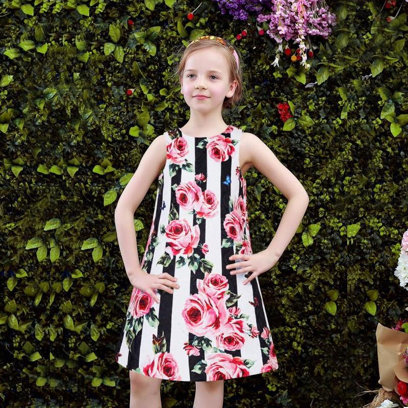 Summer Children Clothing Princess Flower A-line Girl Dresses 2018 Stylish Kids Costume Birthday Sleeveless Baby Girl Clothes