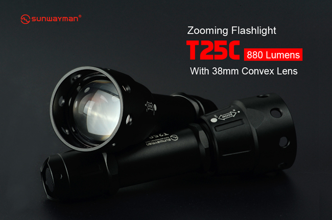 ФОТО 2016 new  sunwayman T25C Zooming Tactical Flashlight  880 lumens use 1*18650 / 2*CR123A batteries