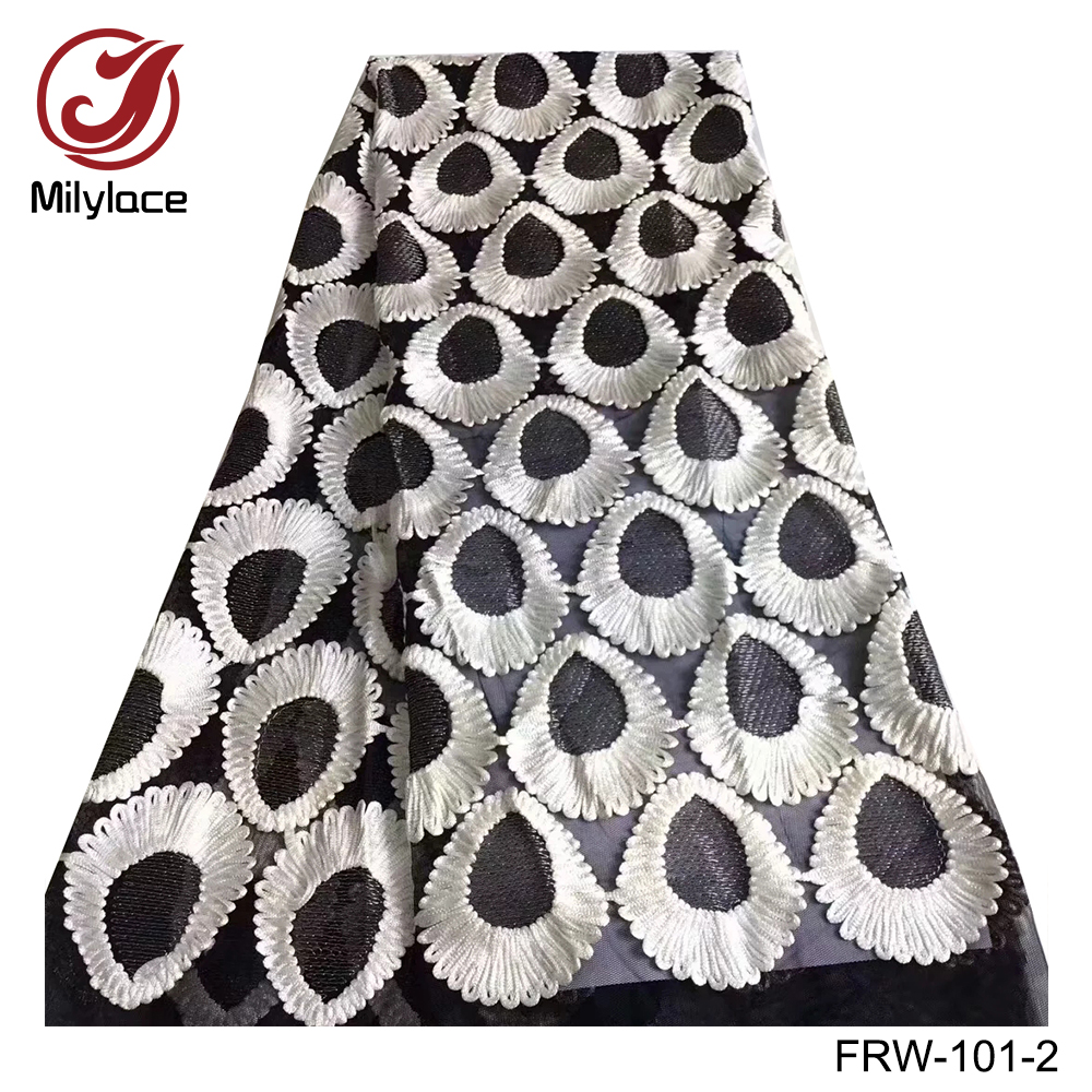 Tulle lace fabric 5 yards per lot latest design french lace fabric black and white nigerian