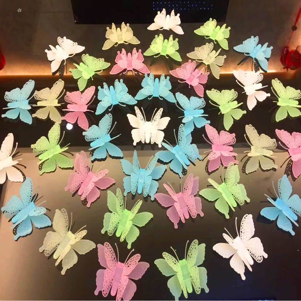 Wall Stickers Butterfly Novelty Noctilucent Luminous Plastic Sticker Ceiling Decal Home wallstickers voor kinderkamer 601