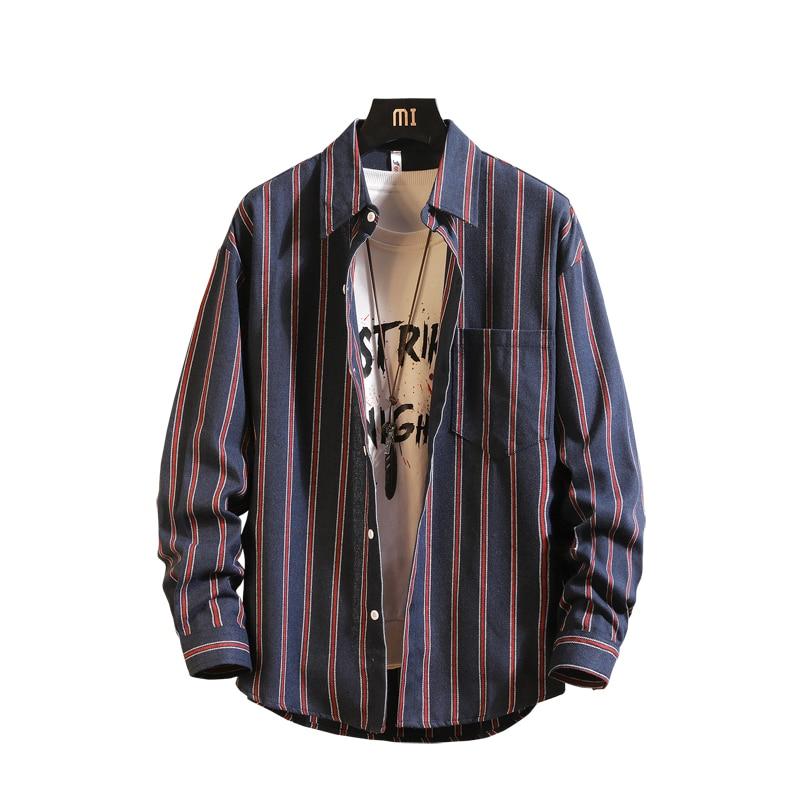 Рубашка мужская 2019 новая полосатая с длинным рукавом мужская рубашка рубашки Camisa Masculina весна лето брендовая повседневная мужская рубашка Т...