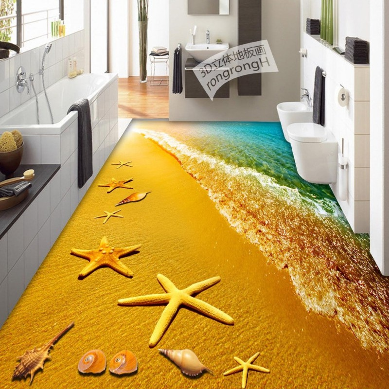 Free Shipping Sea Star 3D Flooring photo wallpaper living room kitchen office non-slip floor wallpaper mural free shipping beach spray 3d dolphin sea floor non slip living room wallpaper office decoration studio wallpaper mural