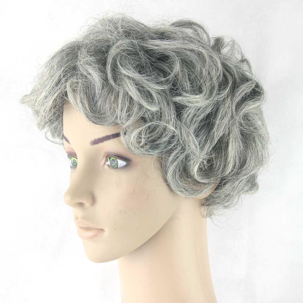 Седые волосы короткие Для женщин парик черный микс белый синтетический волос жаропрочных Вьющиеся Волосы серый парики