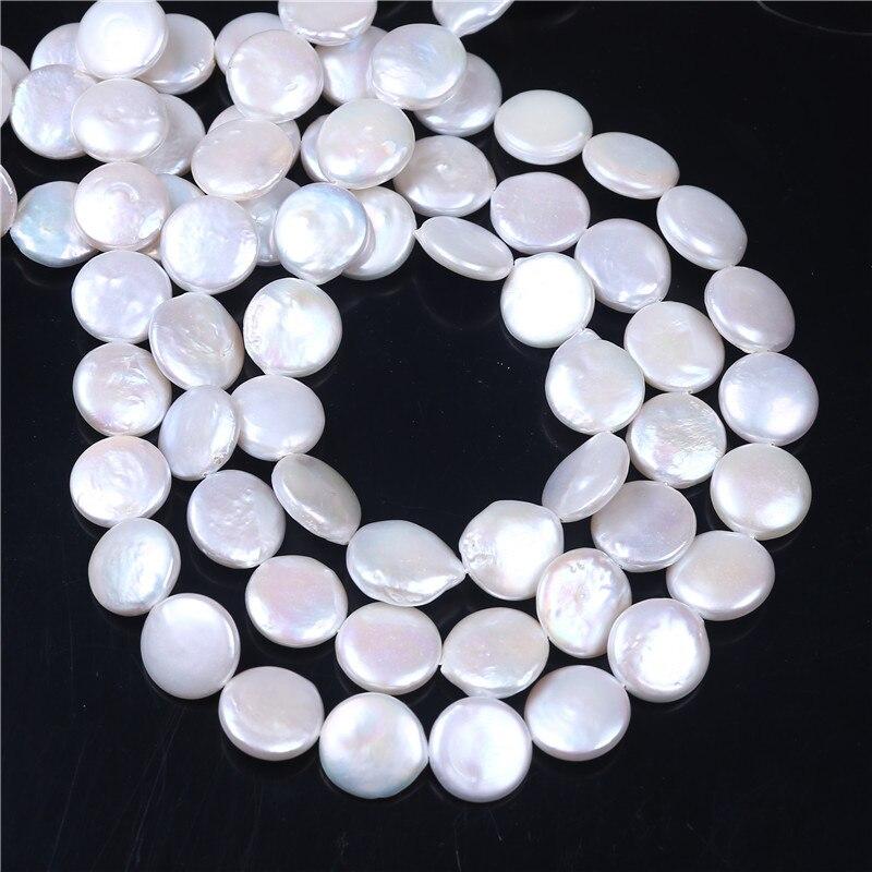 Bricolage AAA gros couleur blanche bouton d'eau douce perle 14-15mm perles en vrac 16 ''pour la fabrication de bijoux