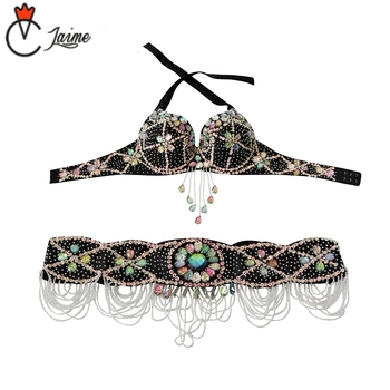 Dance Outfits Performance Belly Dance Beaded Costume Women Dance wear Belly Dancing Clothes Oriental 2 Pieces/set Bra and Belt