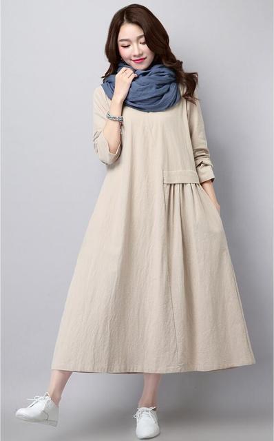 Льняное платье литературный одноцветное Цвет плиссированные модные Длинные рукава Свободные Большой Размеры Повседневное Для женщин Новинка весны и осень