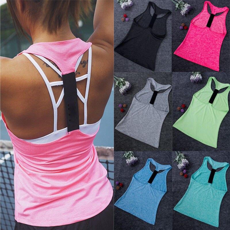 Mulheres esportivas estiramento bandagem volta oco colete treino tanque camiseta esporte ginásio roupas de fitness yoga tanque camisa