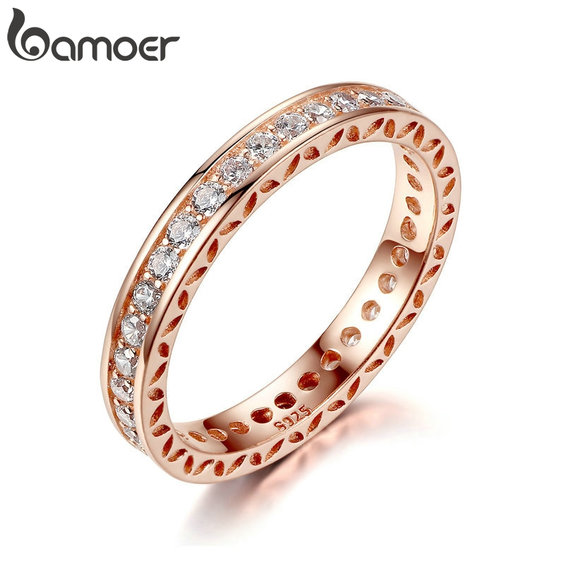 BAMOER Finger-Ring Jewelry Zircon Rose-Gold Classic Wedding 3mm with 3mm-Width Fashion