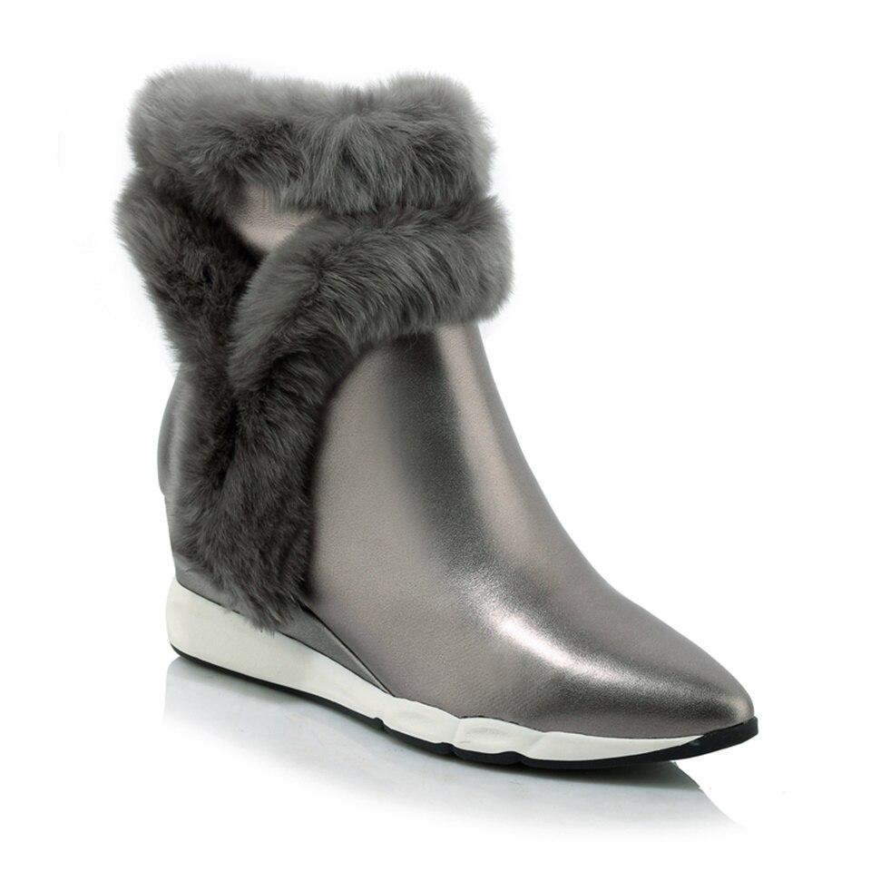 En Chaussures gris Hiver Plat Nouveau Courtes Lapin Décoratif Chaud Femmes De Fourrure Style Vache Wedge Véritable Bottes 2018 Cuir Noir g67yYvbf
