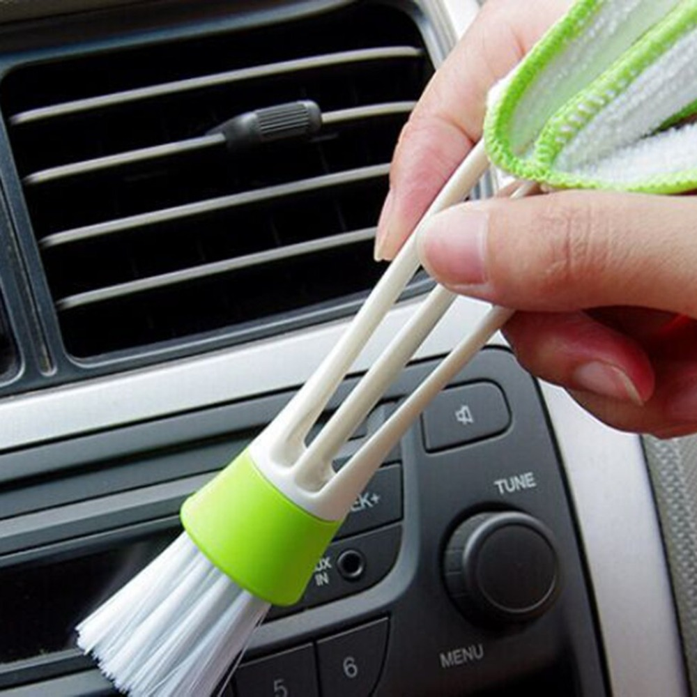Practical Household Clean Tools Double Slider Car Air Conditioning Outlet Clean Brush Window Blinds Keyboard Cleaner Brush