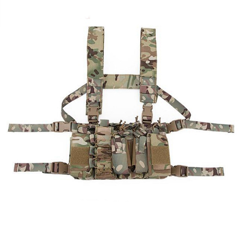 New Outdoor Tactical Chest Rig Airsoft Hunting Vest Molle Pouch Simple Military Tactical Vest with Magazine Pouch airsoftpeak military tactical waist hunting bags 1000d outdoor multifunctional edc molle bag durable belt pouch magazine pocket