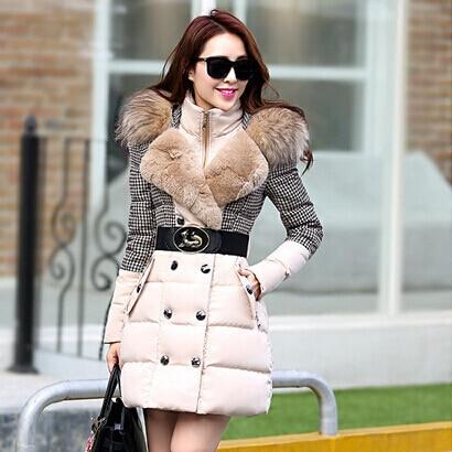 coat &jackets 2015 winter jacket women stitching outerwear Houndstooth fur collar parka medium-long winter coat women H102601