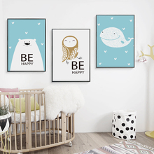 Bianche Wall Simple and Lovely Happy Animals Cartoon Canvas Painting Art Print Poster Picture Paintings Home Decoration
