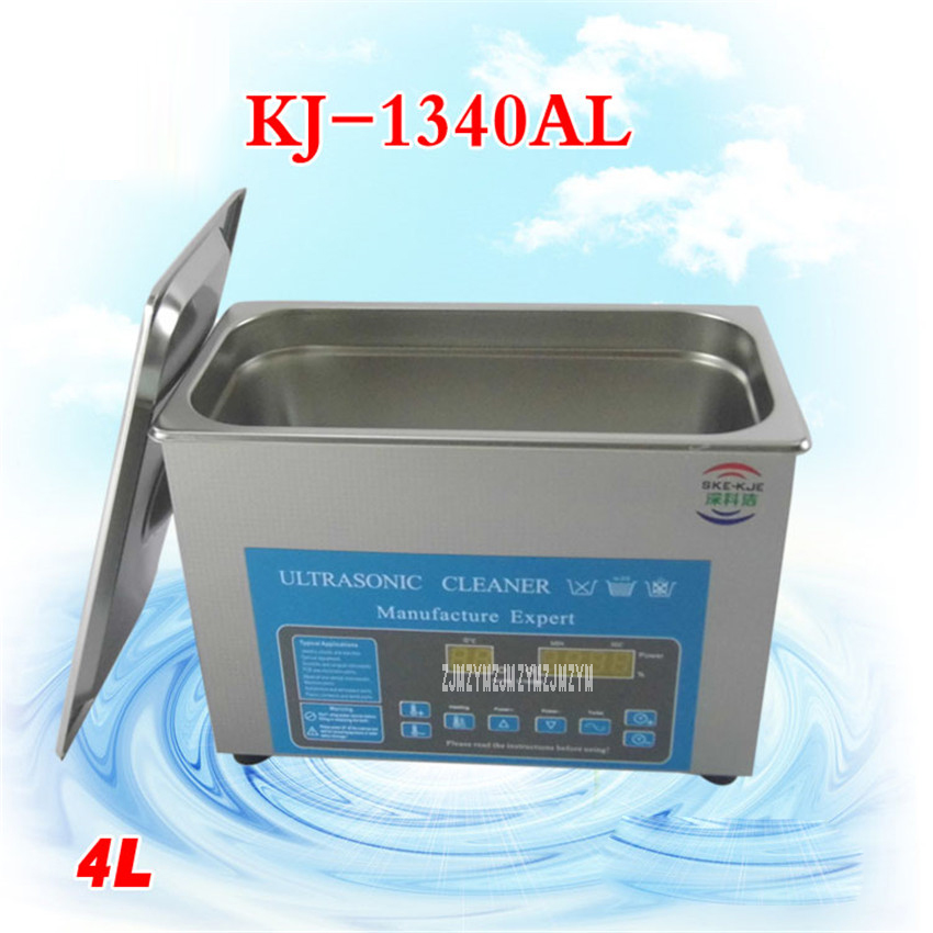 AC110/220V 304 stainless steel Ultrasonic Cleaner 4L KJ-1340AL Digital Timer and Heater Control Equipment Parts with  Basket derui auto parts ultrasonic cleaner with timer and heated dr mh30 3l