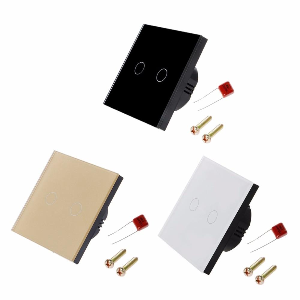 2 Gang EU Standard Smart Wall Light Touch Switch 170-240V Waterproof Glass Panel Switches