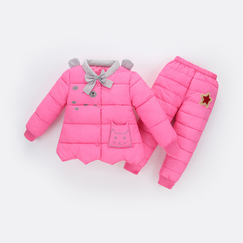 BibiCola baby girls winter clothes kids cartoon cotton clothing set children warm outfits infant girls thick snow clothes suits