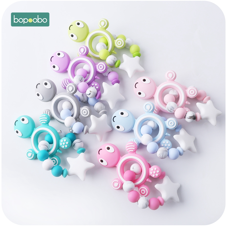 Bopoobo 1pc Silicone Rodent Baby Teething Rattle Beads Silicone Pearl Teething Silicone Turtles Baby Food Grade Silicone Teether