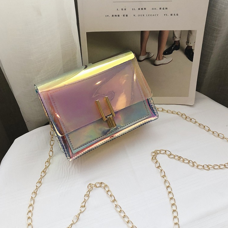 Women Laser Messenger Bags Chain Bag Clear Transparent Crossbody Bags Purse Flap