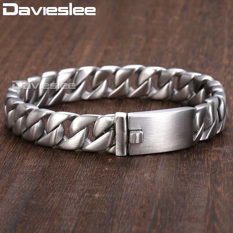 Davieslee 11mm Bracelet for Men Matte Round Curb Cuban Link 316L Stainless Steel Bracelet Mens Jewelry DLHB162