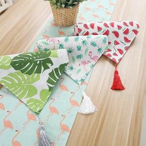 Image 2 - Chemin De Table en coton et lin, De Style nordique et moderne minimaliste, pour meuble TV japonais, Long, pour Table basse, pour lit