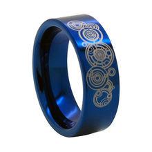 8mm azul anillo tungsten w/símbolo del señor del tiempo-doctor who tamaño 6-18 (# nr04ld)
