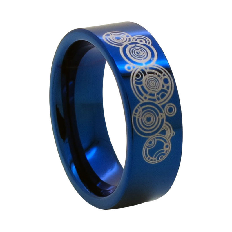 8mm Blue Tungsten Ring w/ Time Lord Symbol - Doctor Who Size 6-13 (#NR04LD)