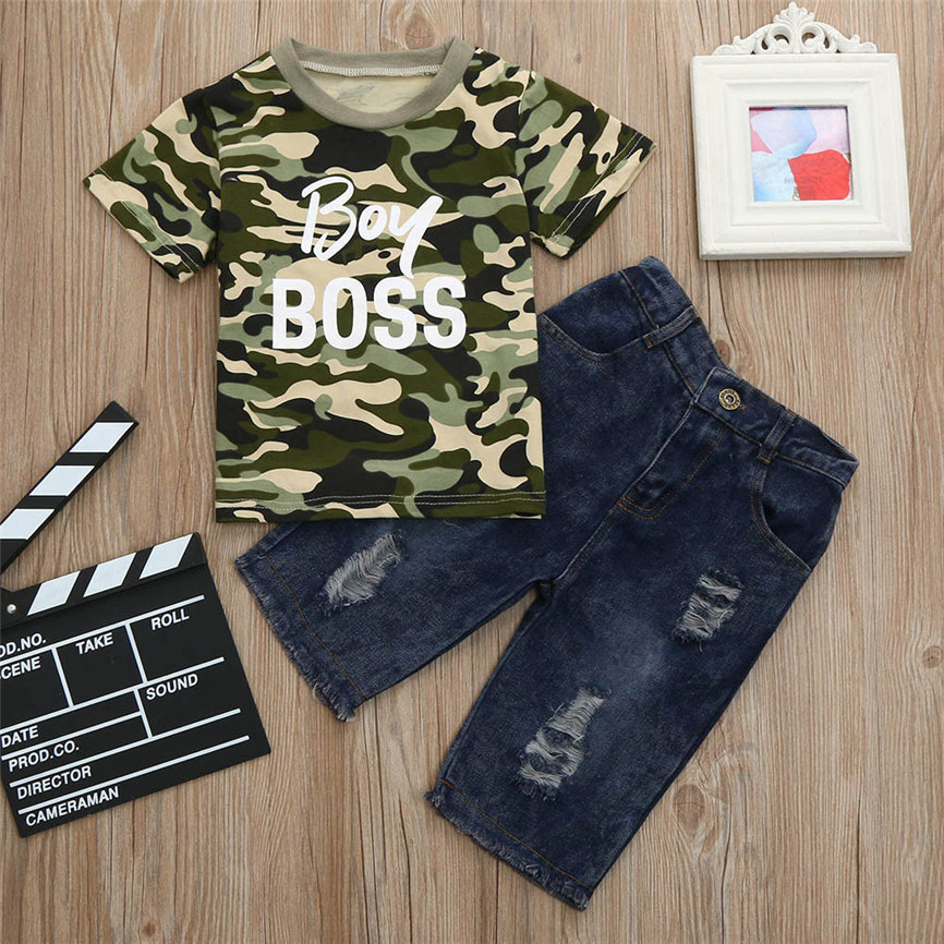 Fashion 2018 Toddler Kids Baby Boys Outfits Clothes Camouflage T-shirt Tops+Denim Pants Set Sports Suit For Boys Dropshipping