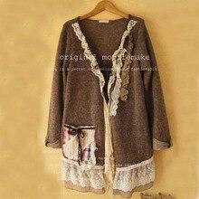 Vintage Lolita Hippie Boho Mori Girl Ethnic Chaqueta Flecos Femme Fall Cardigan Cortavientos Mujer Autumn Winter Jacket Coat
