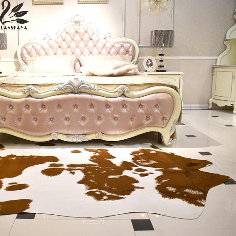 Lanskaya 200x140cm Brown Mat Cow Print Rug Faux Cowhide Cowskin Carpet For  Decorationeuropean And American Style