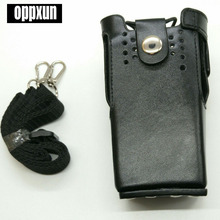 Leather case shoulder holder bag for motorola gp328,gp340,gp380,gp3188,ep450,ht750 etc walkie talkie black color