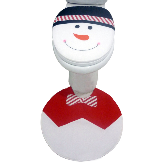 2pcs/lot Christmas Snowman Toilet Lid Cover with Rug Non-slip Foot Mat for New Year Home Bathroom Decoration GA014