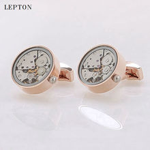Functional Watch Movement Cufflinks With Glass Round Stainless Steel Steampunk Gear Watch Mechanism Cuff links for
