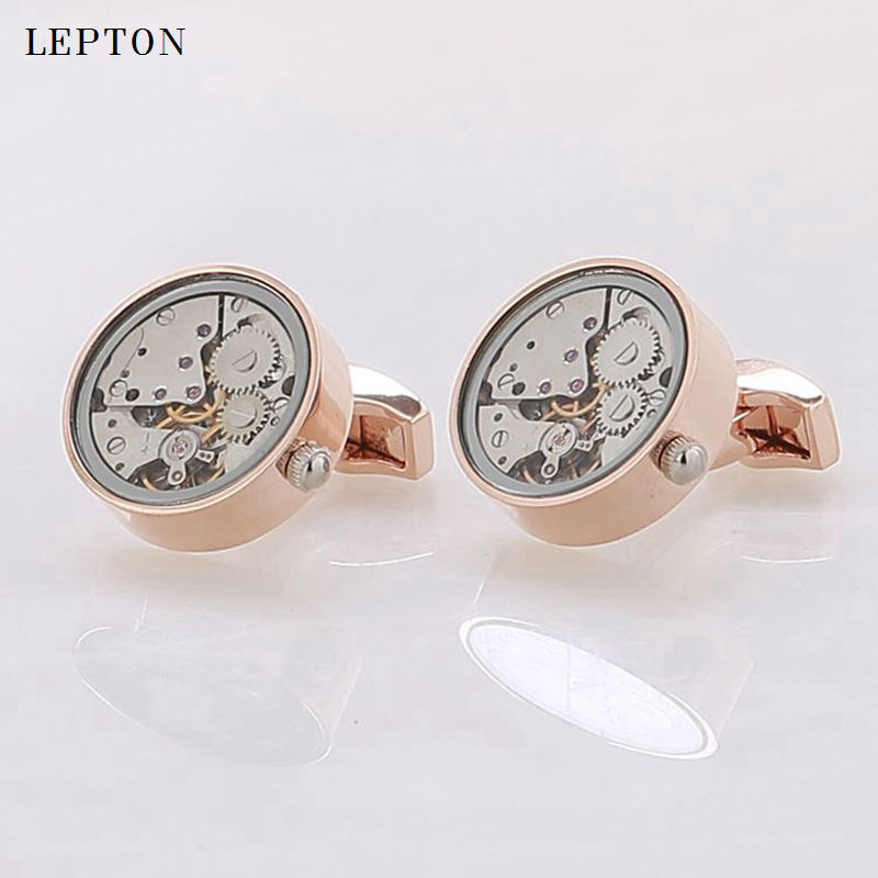 Functional font b Watch b font Movement Cufflinks With Glass Round Stainless Steel font b Steampunk