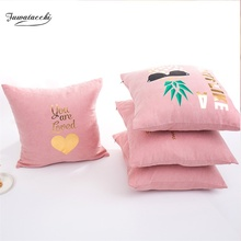 Fuwatacchi Suede Gold Stamping Cute Cartoon Pillowcase Cushion Covers Letter Pink Pillow Cover for Home Sofa Chair Decoration