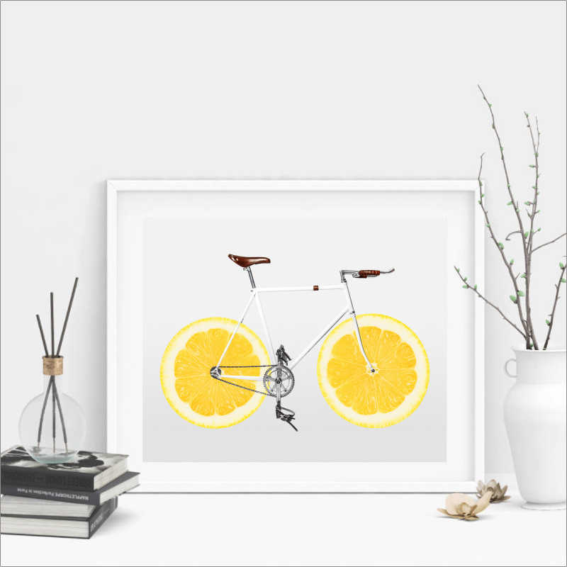 Cycling Art Decor Posters and Prints Bicycle Lemon Wall Picture Nordic Art Scandi Canvas Print Healthy Life Fitness Wall Decor