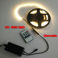 Dimmable 12V LED strip 5050SMD 60leds/m Warm white Cold white LED light Not waterproof 5m+ dimmer controller