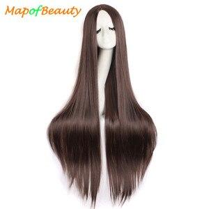 """Image 1 - MapofBeauty 39 """"100 см длинные прямые парики для женщин черный коричневый белый парик для косплея Женские синтетические волосы поддельные шиньоны розовая сетка"""