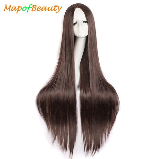 """MapofBeauty 39 """"100 см длинные прямые парики для женщин черный коричневый белый парик для косплея Женские синтетические волосы поддельные шиньоны розовая сетка"""