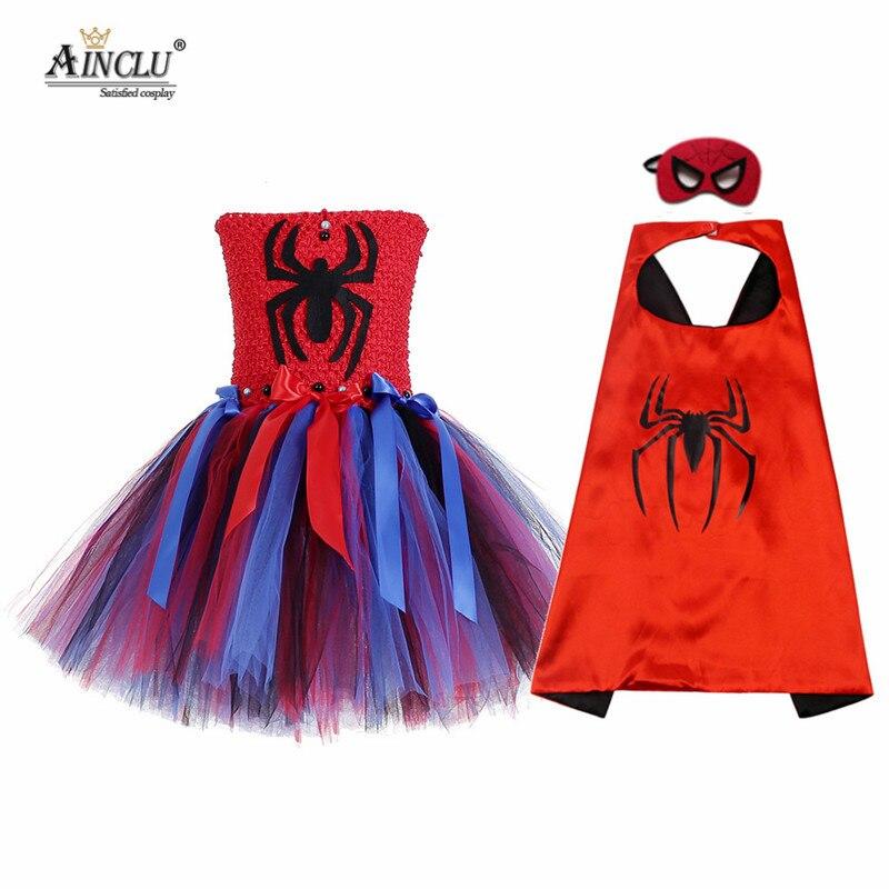 Crianças meninas aranha cosplay tutu vestido com máscara de capa halloween regresso a casa aranha fantasia filmes super herói conjunto completo