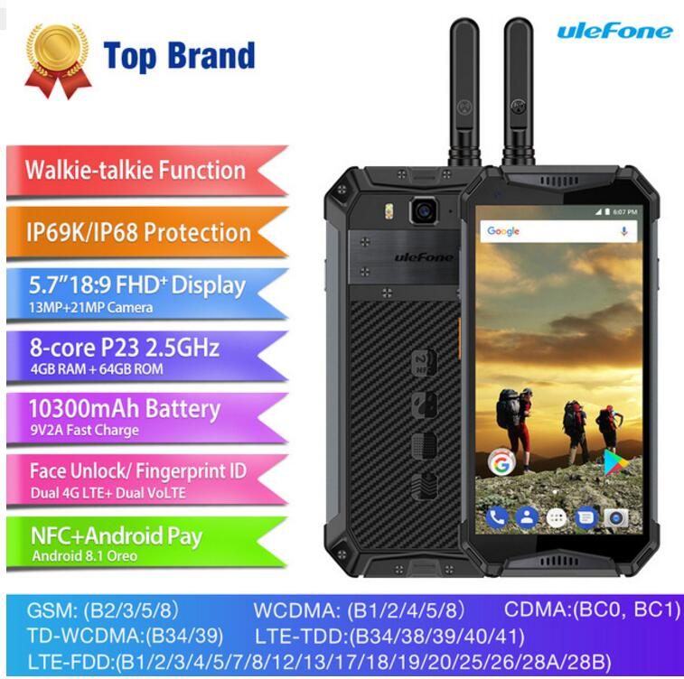 Ulefone Armor 3T IP69K IP68 Waterproof Helio P23 MTK6763T Octa Core 5.7FHD+ Android 8.1 4GB+64GB PTT Walkie Talkie Mobile Phone