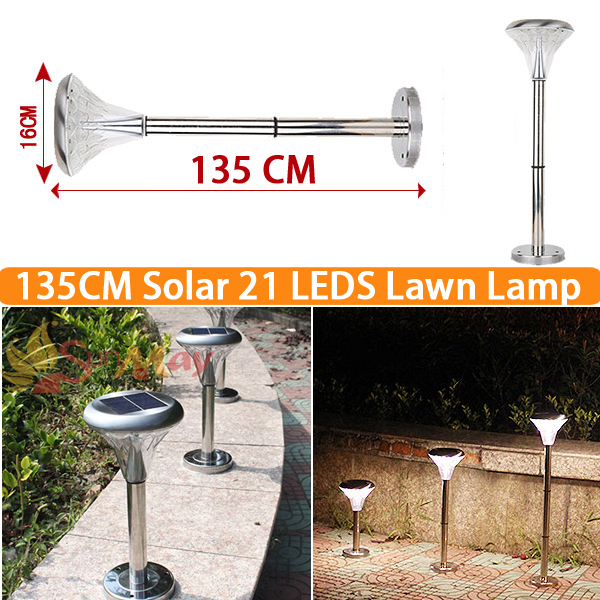 Hight 135CM  Solar 21 Leds light Powered for Garden Lawn Pathway Decorative Landscape Sun Lights Lamps Outdoor Lighting Sunlight stainless steel solarlampen spike light hollow engraving landscape garden path lawn solar lamps outdoor grounding sun light