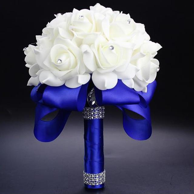 Elegant Royal Blue Purple Red Fuchsia Rose Artificial Bridal Flowers ...