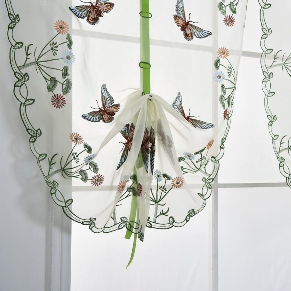 Kurzen Vorhang Küche Schmetterling Sheer Volant Voile Stoff Tür ...