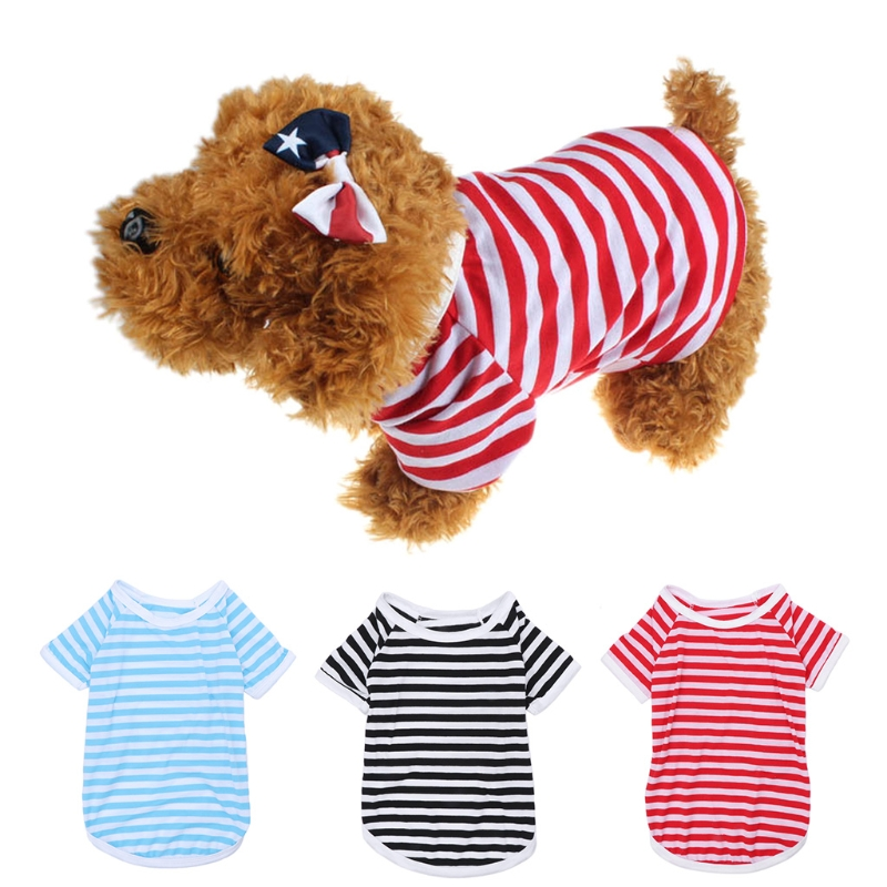 Pet Vest Summer Apparel 3 Color 5 Size Clothing For Dog Puppy Cat Stripe T Shirt