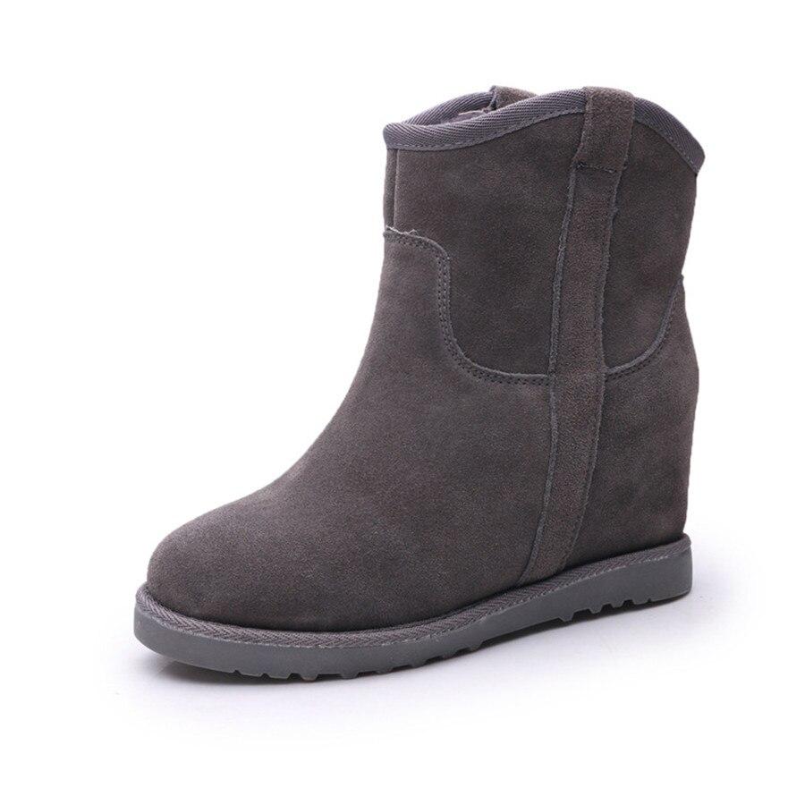 Botas Nieve camel Aumentó Más De Cuero gray Engrosamiento En Mujeres Terciopelo Mujer purple Las Algodón Invierno Zapatos Nuevo El Tubo Black qAvHzz