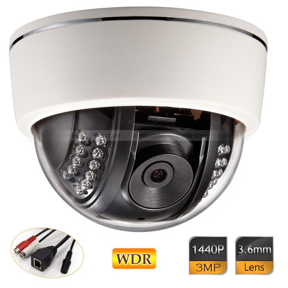 3.0MP HD 1440P WDR IP Plastic Dome Camera Network Onvif Security Outdoor 22IR 3 0mp hd 1440p wdr ip camera 4mm network onvif security outdoor ir 12v1a