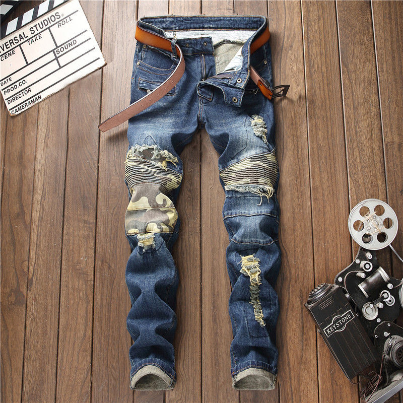 New blue ripped slim fit straight jeans for men patchwork camouflage patches pleated trousers with zipper mens hole denim pants