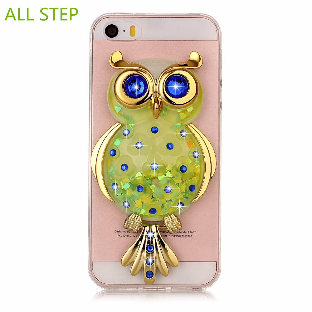 brand new 4d608 e9ec6 US $4.25 |ALL STEP Dynamic Liquid Glitter DIY Owl Case For Iphone 5 5S 6 6S  7 Plus Soft Silicone Back Cover For Touch 5 6 Case Stand Coque-in Fitted ...