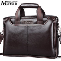 MARK SAXTON Guarantee Natural Genuine Leather Briefcase Famous Brand Designer Soft Cowskin Casual Business Men Briefcases