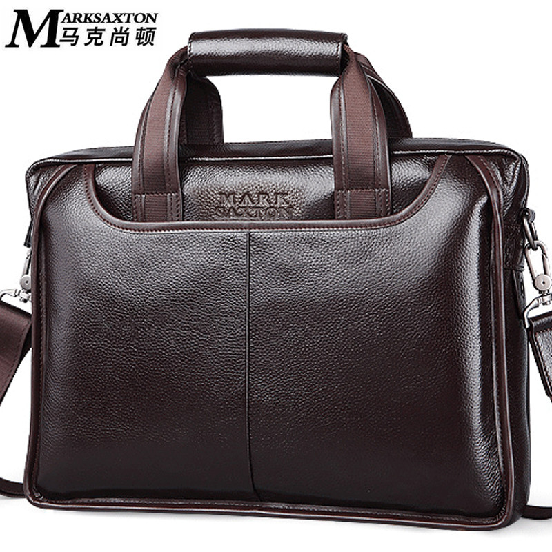 MARK SAXTON Guarantee Natural Genuine Leather Briefcase Famous Brand Designer Soft Cowskin Business Men Briefcases Bags